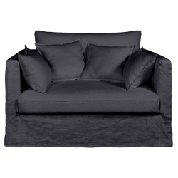 Canapé fixe 2 places néo kinkajou, toile lin froissé