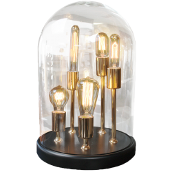 Lampe globe ronde à poser avec 5 ampoules filament - zacchary