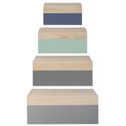 Boite de rangement bois et pastel (par 4)