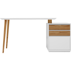 Bureau blanc mat avec caisson 3 tiroirs - svartan