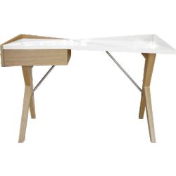 Bureau laqué blanc avec pieds bois - geometry