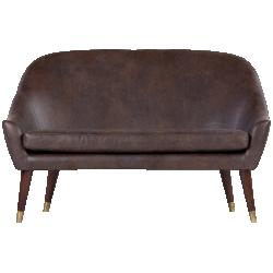 Canapé 2 places en cuir supérieur seattle brun