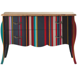 Commode néon multicolore en bois