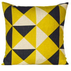 Coussin broadstairs 47x47 cm jaune