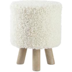 Tabouret alpaga blanc