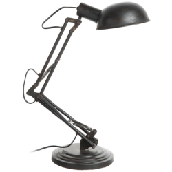 Lampe factory noir métal