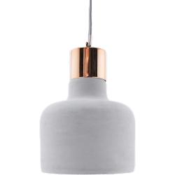Suspension lumineuse en béton et cuivre
