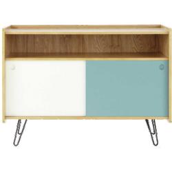Meuble tv twist bleu blanc en bois