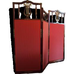 Paravent acajou et tissu rouge de style empire