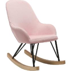 Fauteuil relax - baby rocking chair tissu rose pieds métal et frêne jhene