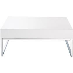 Table basse easy blanc chromé en bois