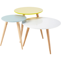 3 tables basses fjord multicolore en bois