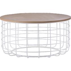 Table basse ronde en fil métal blanc et plateau bois - vestfold