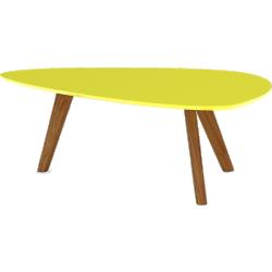 Table basse jaune mat pieds bois clair - svartan