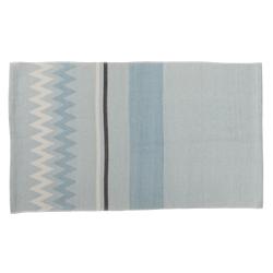 Tapis rectangulaire en coton bleu zigzag bloomingville