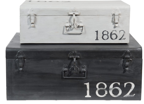 2 malles kansas noir gris métal