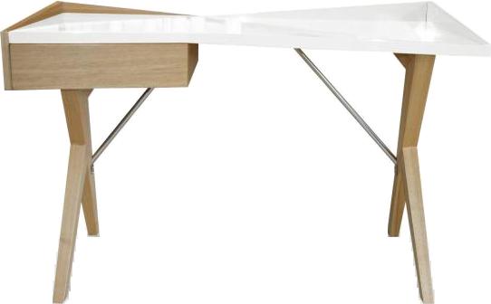 Bureau laqué blanc avec pieds bois geometry mydecolab