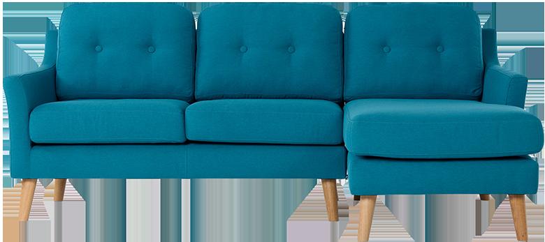 Canapé d'angle droit rufus azur