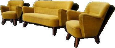Set 1 canapé 2 fauteuils organique année 50