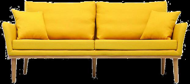Canapé design 3 places tissu jaune et frêne nori