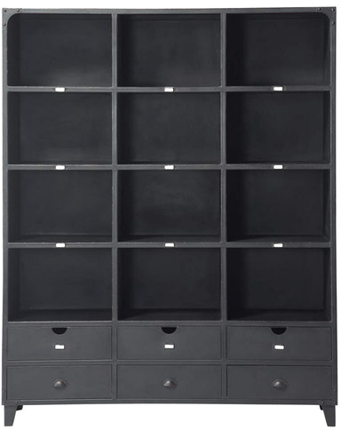 biblioth que edison noir m tal mydecolab. Black Bedroom Furniture Sets. Home Design Ideas