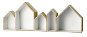 Etagère murale en bois et blanc 5 maisons