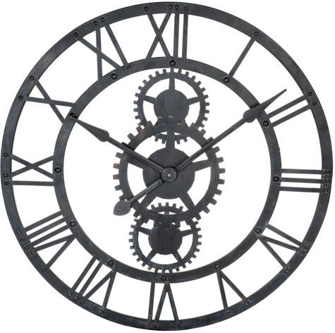 Horloge temps modernes noir métal