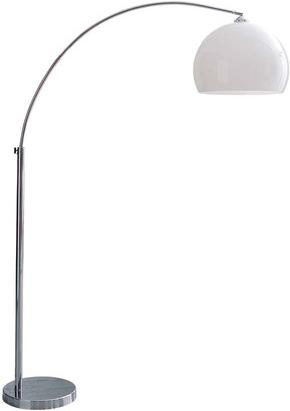Lampadaire sphère blanc chromé