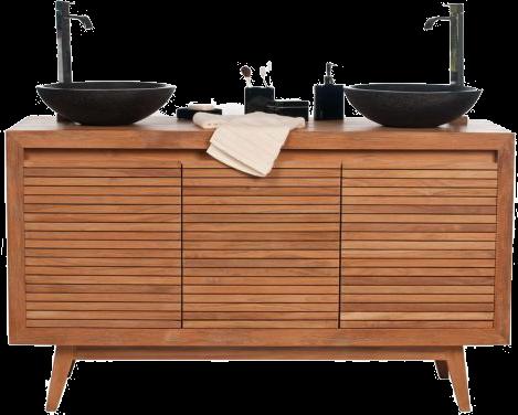 Meuble de salle de bain double vasques noir en teck ano