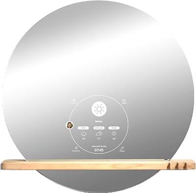Miroir connecté design avec étagère en chêne ekko