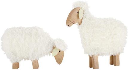 2 moutons p ture blanc en bois mydecolab - Peau de mouton maison du monde ...