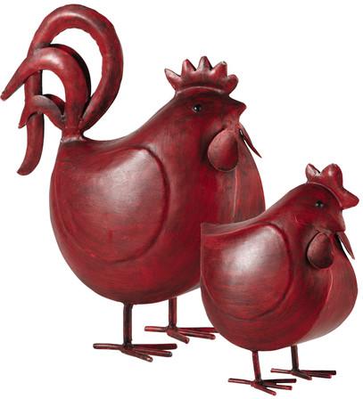 2 poules raoul rouge métal