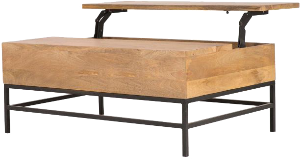 Table basse relevable industrielle manguier et m tal 110cm - Table basse pratique ...