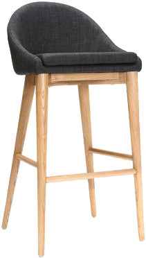 Tabouret de bar design 75cm bois et tissu gris anthracite dalia